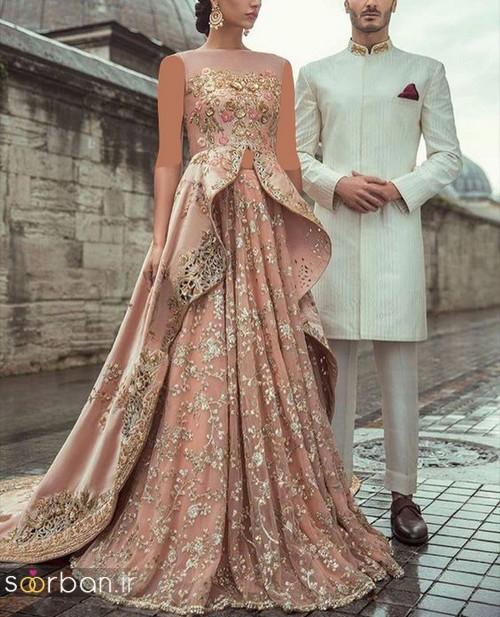 مدل لباس عروس هندی مجلسی بلند شیک و جدید