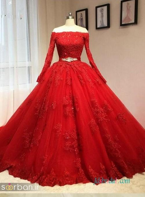 لباس حنابندان، عقد و نامزدی قرمز بلند پرنسسی شیک و زیبا