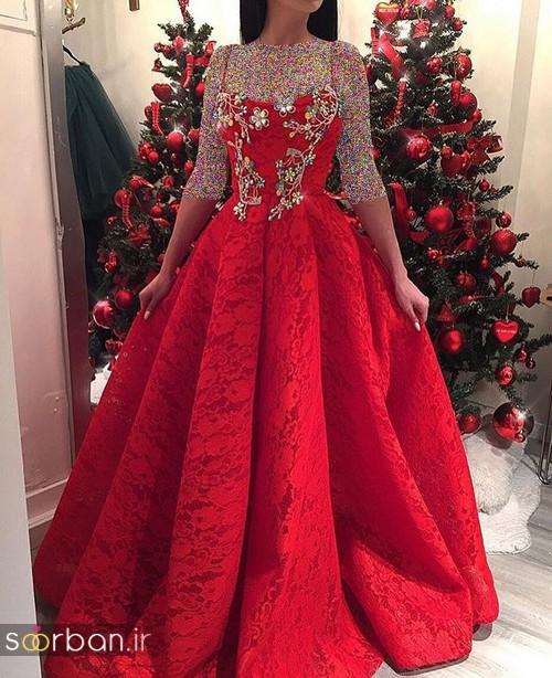 لباس حنابندان، عقد و نامزدی قرمز بلند کرمی چین دار  دنباله دار