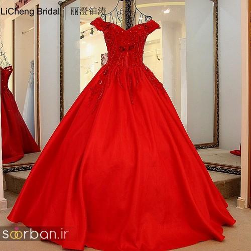 لباس حنابندان، عقد و نامزدی قرمز با تور و گل برای مجلسی بلند