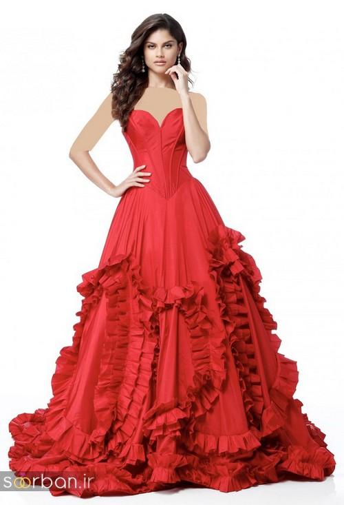 مدل لباس حنابندان، عقد و نامزدی قرمز بلند