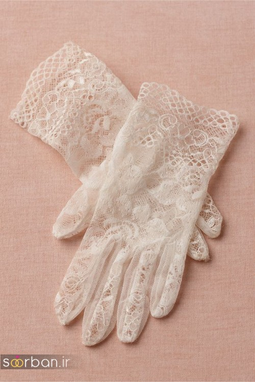 عکس مدل دستکش عروس کوتاه با تور دانتل