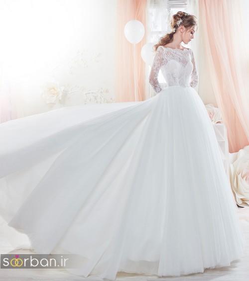 مدل لباس عروس آستین دار 2018 بسیار زیبا بالاتنه تور