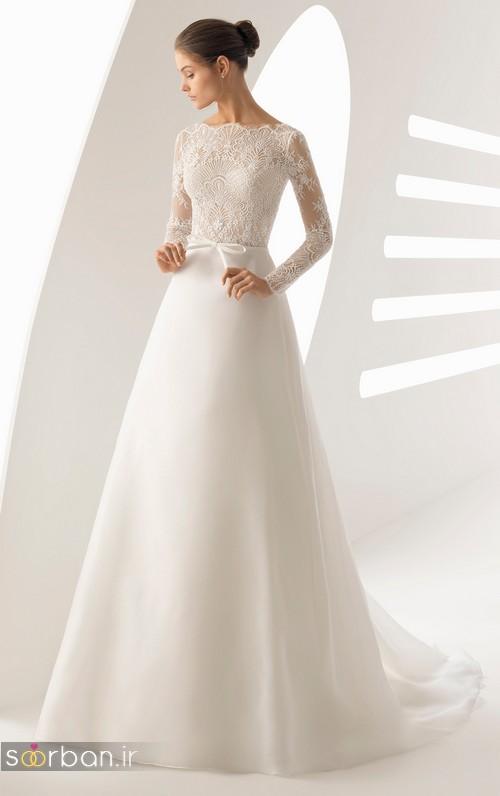 عکس مدل لباس عروس آستین دار 2018 با تور دانتل