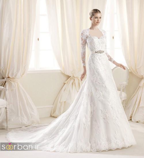مدل لباس عروس آستین دار 2018 یقه دلبر
