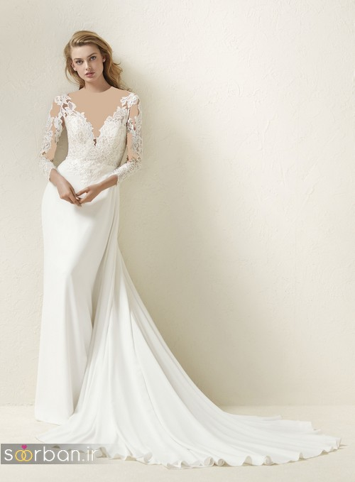 مدل لباس عروس آستین دار 2018 خوشگل