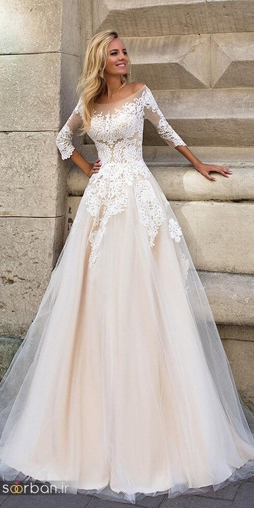 لباس عروس مدل آستین سه ربع