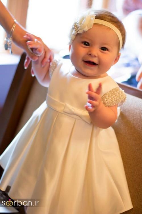 لباس عروس بچه گانه با کمربند پاپیون