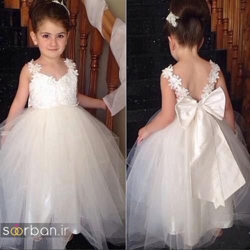 لباس عروس بچگانه 2017 شیک جدید تور و پاپیون