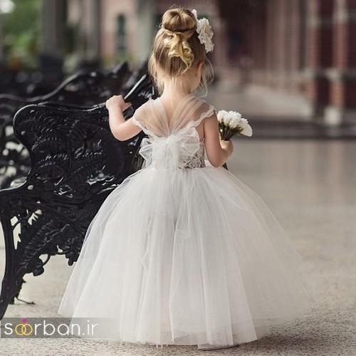 لباس عروس بچگانه 2017 پفی با تور شیک و جدید