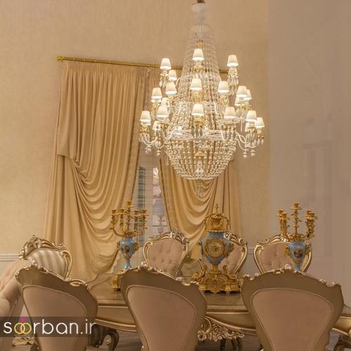 لوستر سقفی شیک مهمانخانه عروس  با کمربند پاپیون