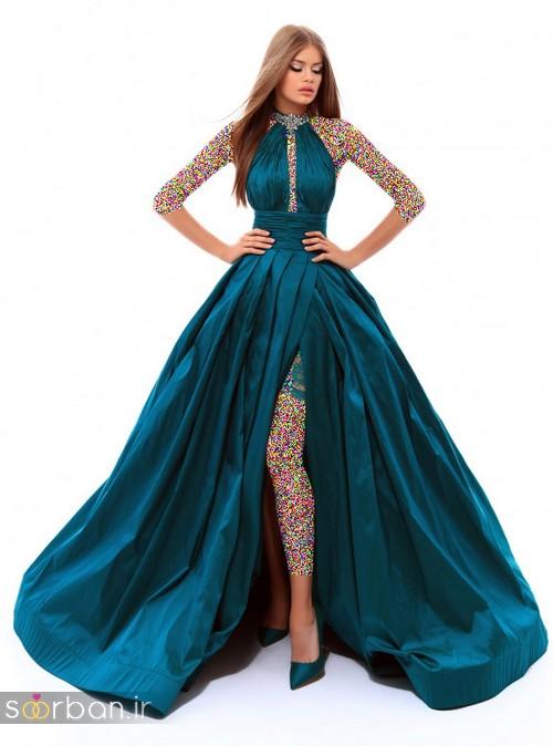 مدل لباس مجلسی بلند زنانه 2018 جدید- لباس مجلسی بلند صورتی پفی و خوشگل