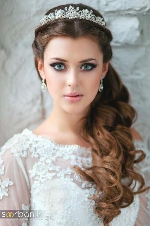 مدل مو عروس با تاج شیک و مو بسته