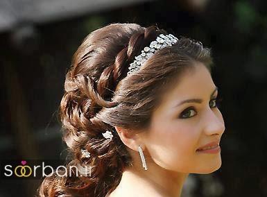 مدل مو عروس با تاج و پروتز