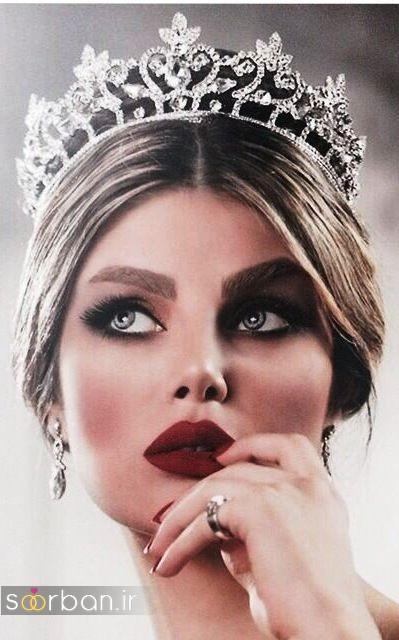 عکس مدل مو عروس با تاج ملکه ای فرق وسط