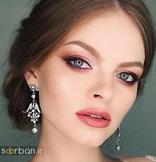 مدل آرایش میکاپ و مدل مو عروس با سایه قهوه ای