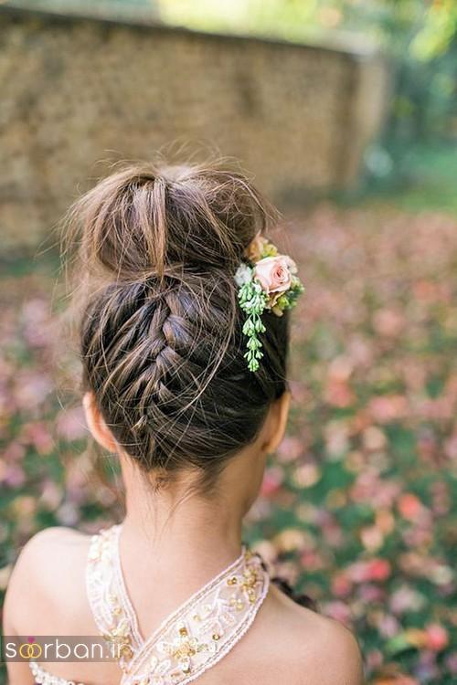 مدل مو بچگانه دختر جدید برای عروسی 2017 با بافت و شینیون
