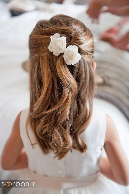 مدل مو ساده بچه گانه دختر با گل