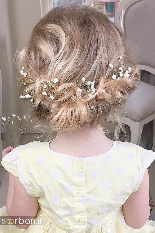 عکس مدل مو بچگانه دختر برای عروسی با تریین گل