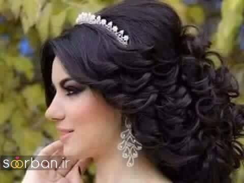 مدل مو عروس مشکی جدید 2017 با بابلیس و تاج