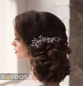 مدل مو عروس مشکی جدید شینیون یک طرف2017