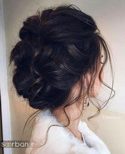 مدل مو عروس مشکی جدید شینیون 2017
