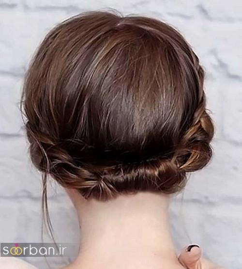 مدل مو کوتاه عروس با بافت دور سر
