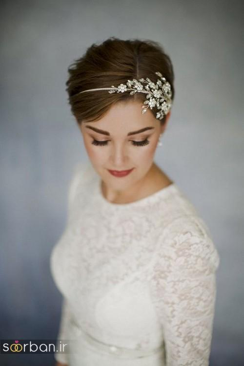 مدل مو کوتاه عروس جدید 2017 با تل و ریسه