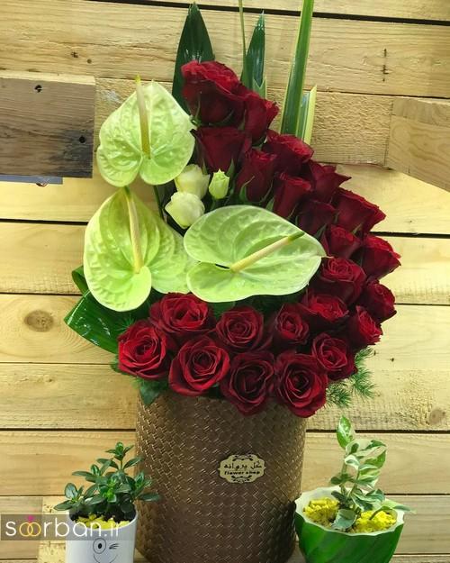 سبد گل خواستگاری شیک و جدید 2017 با گل رز قرمز