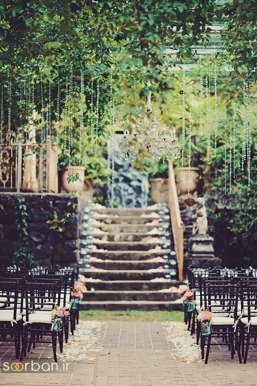 مدل تزیین ژورنالی ورودی باغ تالار عروسی با بند کریستال