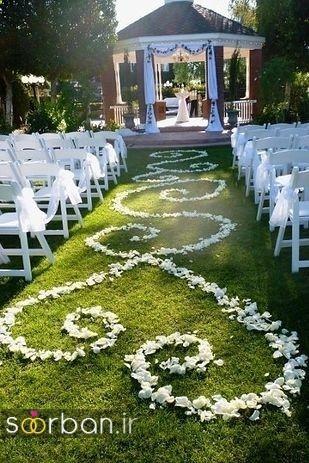 تزیین ژورنالی ورودی باغ تالار عروسی با گل سفید