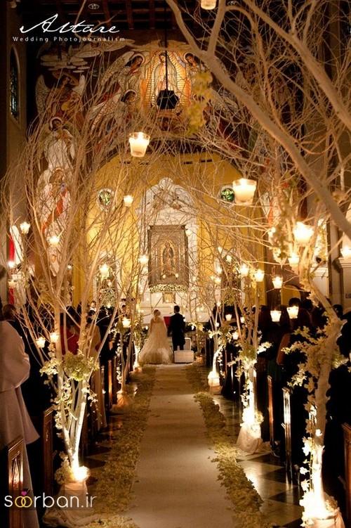 تزیین ژورنالی ورودی باغ تالار عروسی با درخت و شاخه خشک