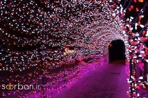 تزیین ژورنالی ورودی باغ تالار عروسی  با تونل نور