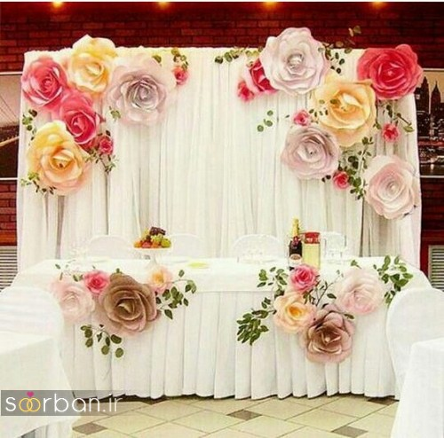 تزیین با تور ساتن تزیین پشت سر جایگاه عروس و داماد جدید و بسیار زیبا