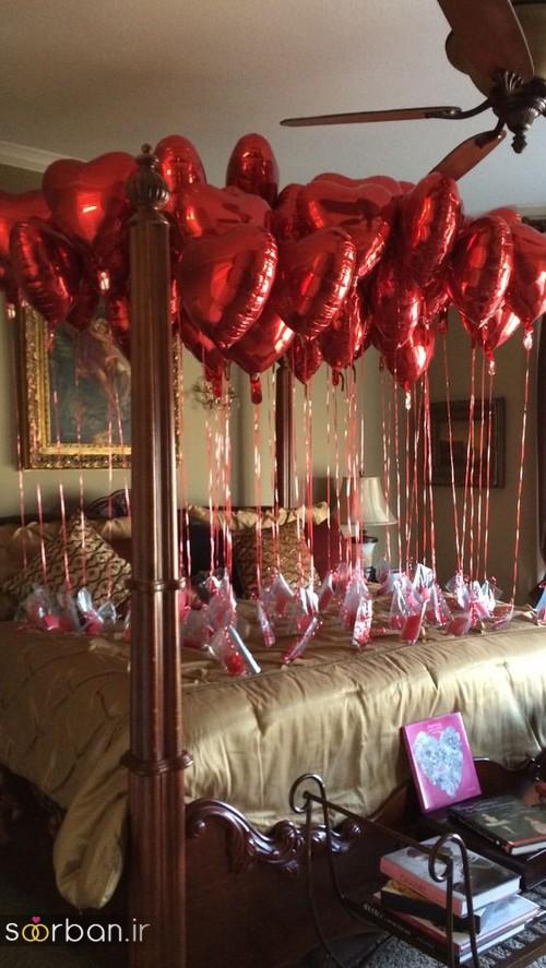 تزیین اتاق خواب ولنتاین با بادکنک