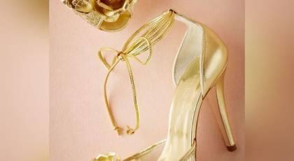 مدل کفش نامزدی طلایی رنگ 2021   کفش طلایی مجلسی اینستاگرام 1400   مدل کفش نامزدی جدید 2021