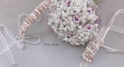 مدل ست دسته گل، تاج و گل کت داماد | ست دسته گل وتاج عروس