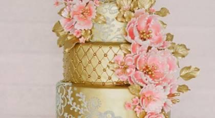 مدل کیک عروس طلایی شیک - سری جدید