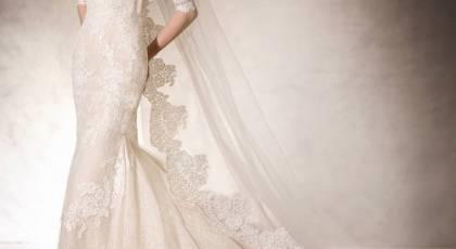 لباس عروس با تور دانتل بسیار شیک 2017
