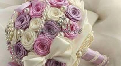 33 دسته گل عروس با روبان جدید
