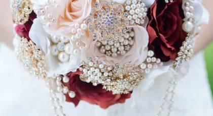 دسته گل عروس با مروارید - سری جدید